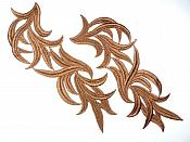 "Brown Embroidered Appliques Costume Designer Mirror Pairs 11.25"" GB691X"