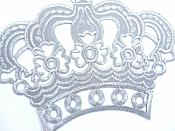 """Silver Metallic Crown Iron On Embroidered Applique Iron on Sewing Patch 6"""" GB1001"""