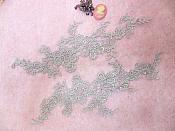 """Embroidered Floral Applique Mirror Pair Silver Clothing Patch Craft Motif 13.5"""" (BL98X)"""