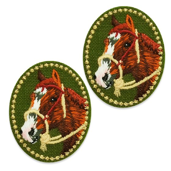 "Appliques Brown Mutli Horse Pair Embroidered Clothing Patch 1.5"" ESA5043"