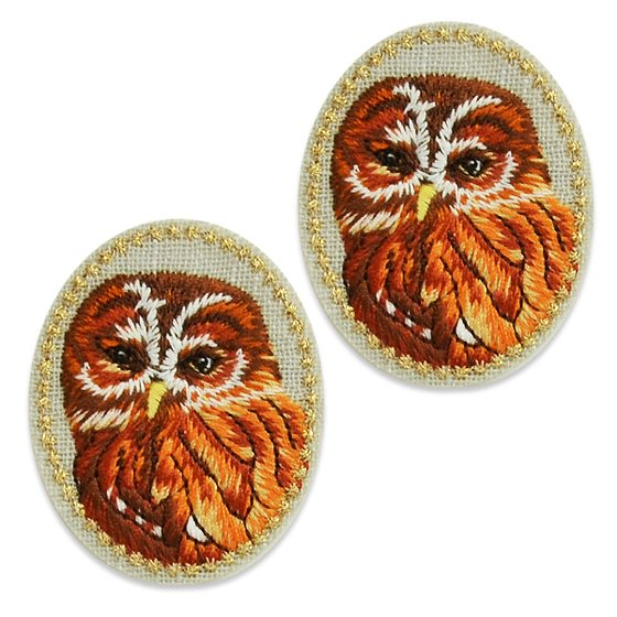 "Appliques Brown Mutli Owl Pair Embroidered Clothing Patch 1.5"" ESA5045"