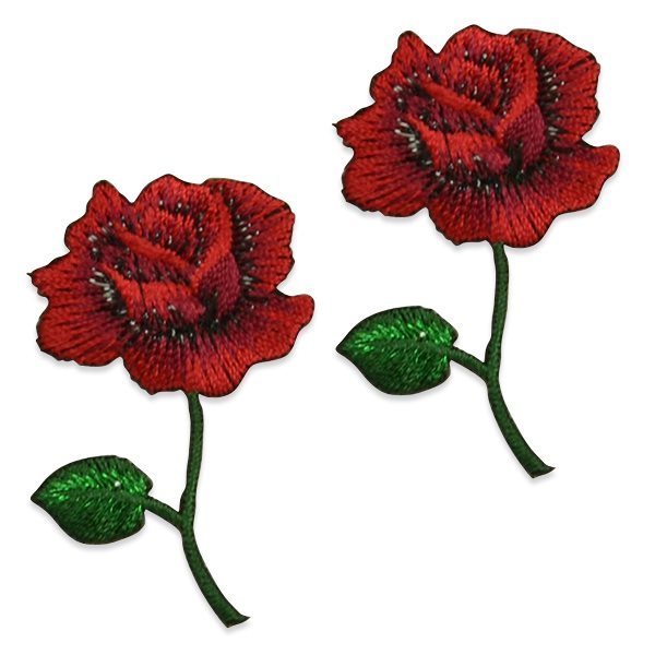 "Red Rose Applique Pair Embroidered Iron On Clothing Patch 2.5"" ESA5046"