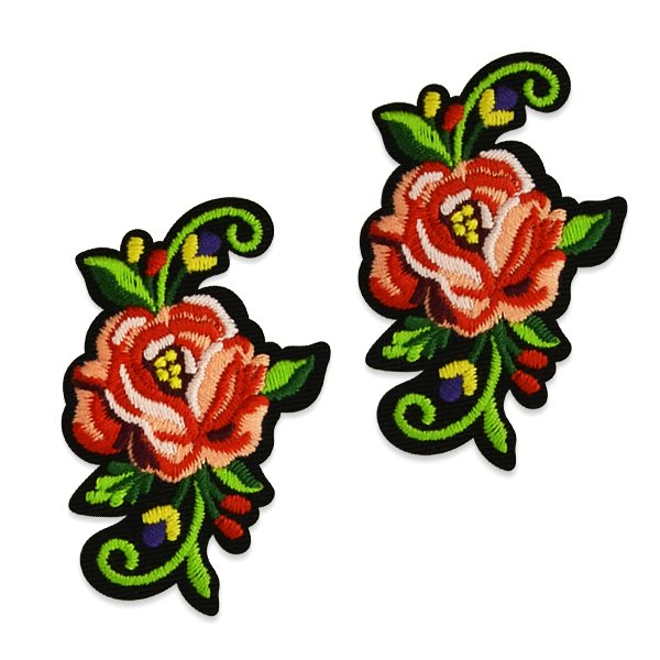 "Red Rose Applique Pair Embroidered Iron On Clothing Patch 2.5"" ESA5047"