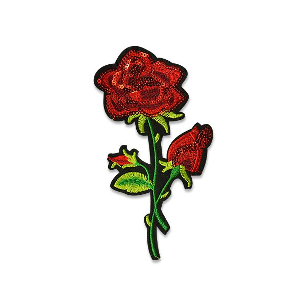 """Red Rose Embroidered Sequin Applique Iron On Patch 6.25"""" ESA6370"""