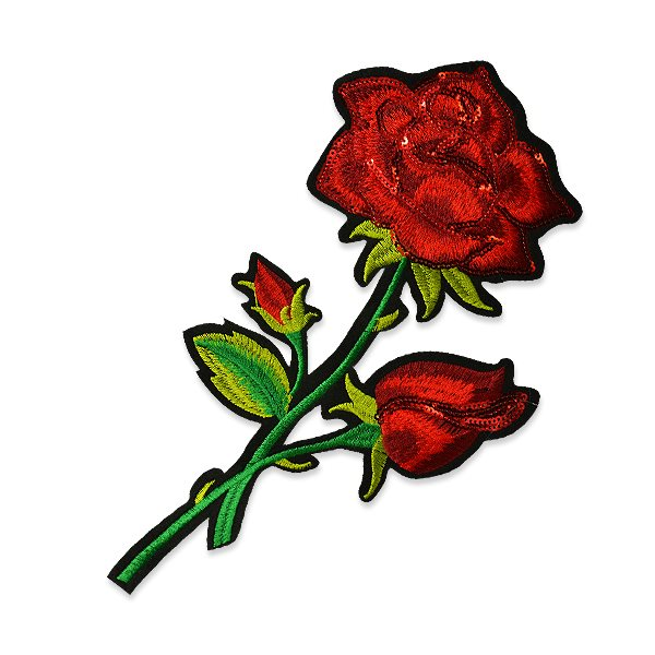 """Red Rose Applique Sequin Embroidered Iron On Clothing Patch 10 5/8"""" ESA6371"""