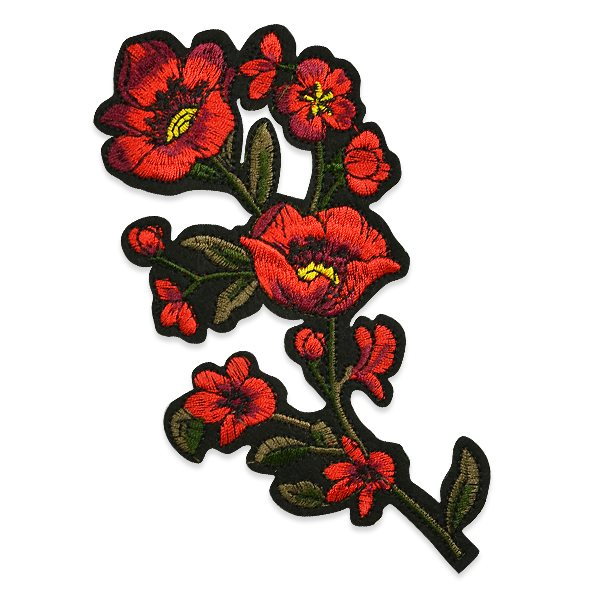 """Red Rose Applique Embroidered Iron On Clothing Patch 6.25"""" ESA6374"""
