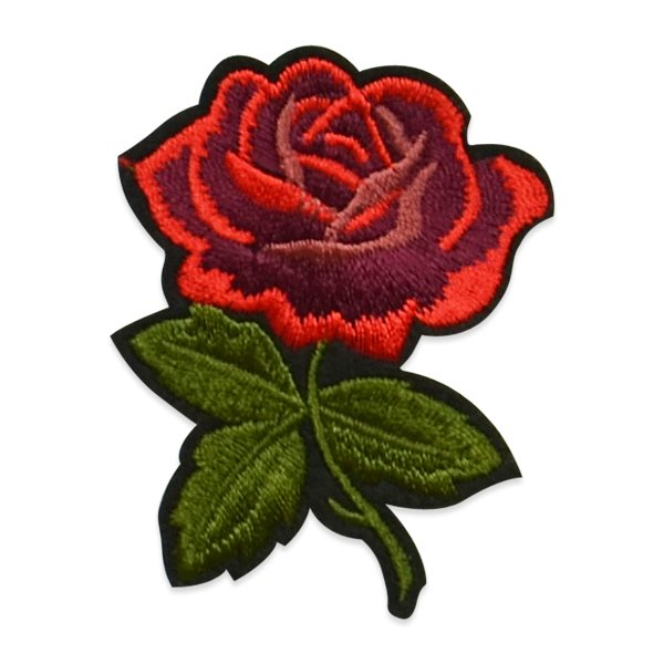 "Red Rose Applique Embroidered Iron On Clothing Patch 2 5/8 "" ESA6400"