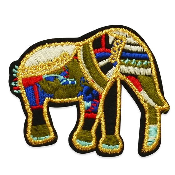 "Applique Embroidered Black Multi Elephant Craft Patch Clothing Motif 2.5"" ESA6406"