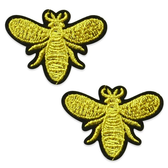 "Appliques Gold Metallic Bee Pair Embroidered Venice Lace 2 1/8"" ESA6407"