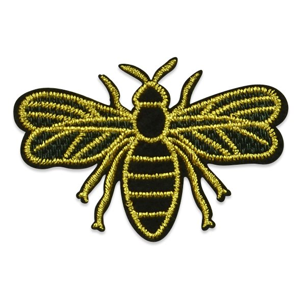 "Applique Embroidered Black Gold Bee Craft Patch Clothing Motif 3 7/8"" ESA6409"