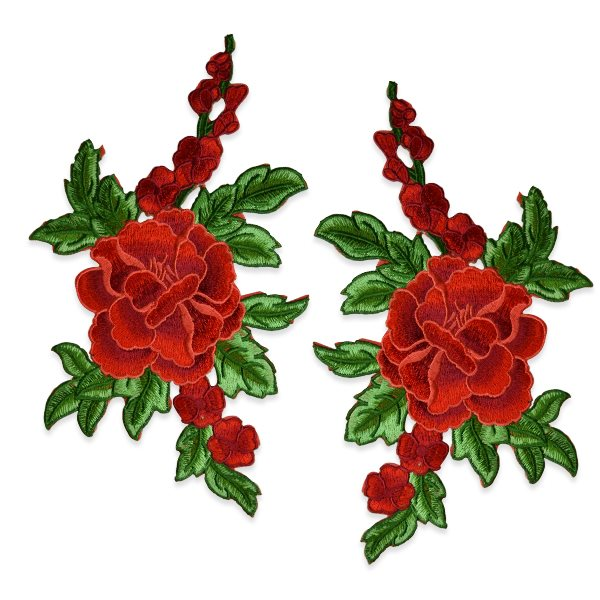 """Embroidered Appliques Red Floral Iron on Mirror Pair 10.25"""" Esa6415"""