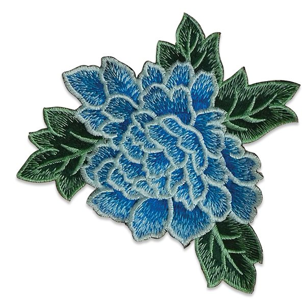 """Blue Rose Embroidered Applique Iron On Patch 6.5"""" ESA6416"""