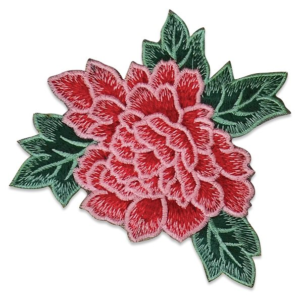 """Pink Rose Embroidered Applique Iron On Patch 6.5"""" ESA6416"""