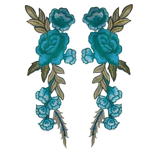 """Embroidered Blue Rose Applique Mirror Pair Iron On Clothing Patch 10.5"""" ESA6417X"""