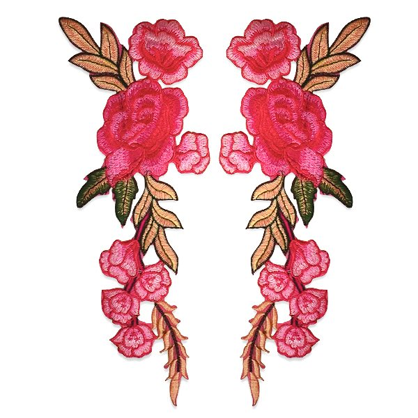 """Pink Rose Applique Mirror Pair Embroidered Iron On Clothing Patch 10.5"""" ESA6417X"""