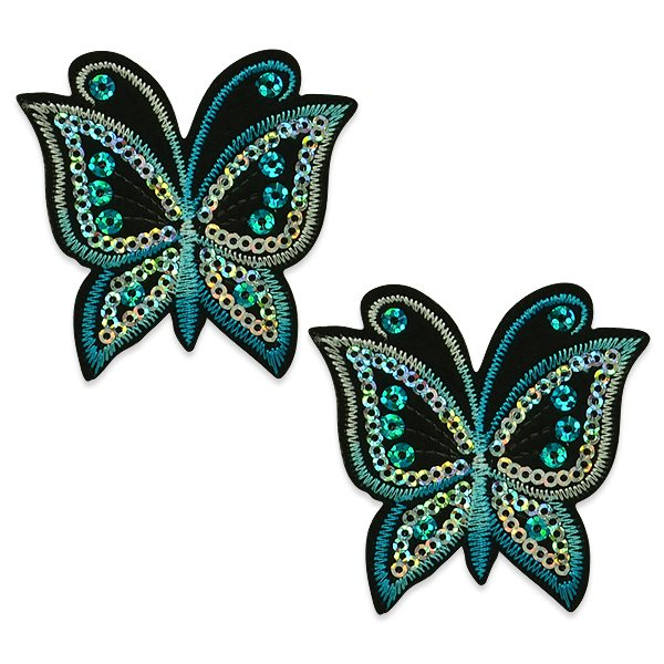 "Appliques Blue Butterfly Pair Embroidered Sequin Clothing Patch 2.5"" ESA6424"