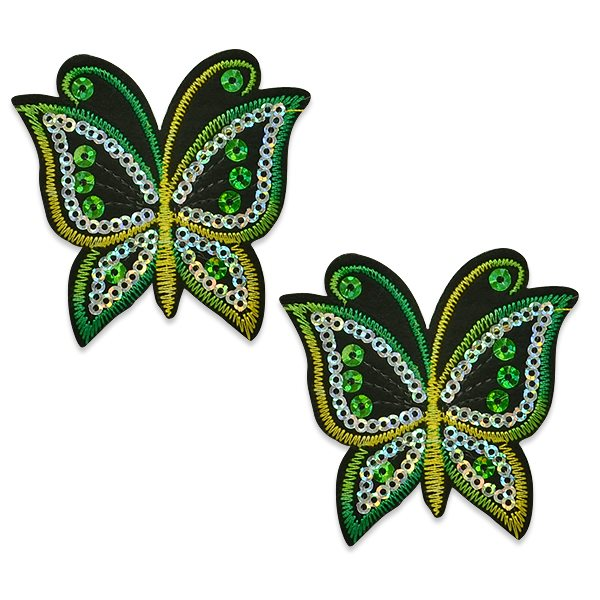 "Appliques Green Butterfly Pair Embroidered Sequin Clothing Patch 2.5"" ESA6424"