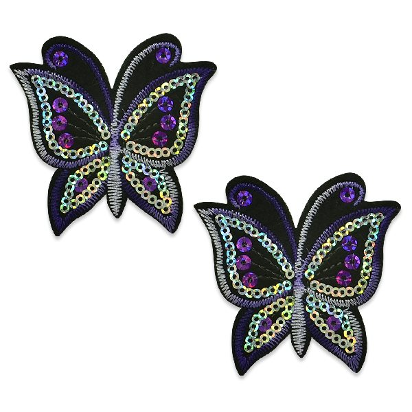 "Appliques Purple Butterfly Pair Embroidered Sequin Clothing Patch 2.5"" ESA6424"