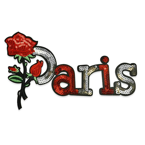 "Applique Embroidered Sequin Black Red Silver ""Paris"" Rose Motif 9.5"" ESA6426"