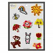 Embroidered Silk Set of Ten Cute Appliques ESA6432