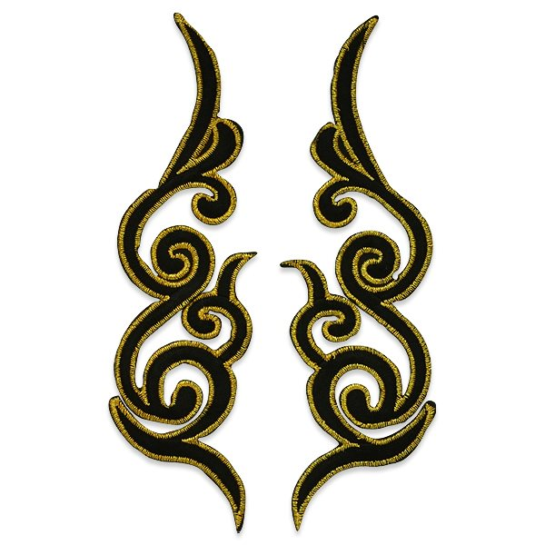 "Embroidered Appliques Black Gold Scroll Design Mirror Pair Motifs Patch 7"" ESA6433X"