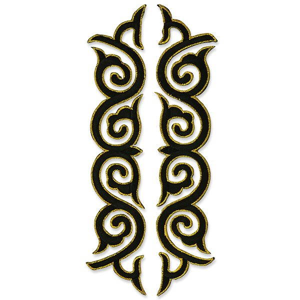 "Embroidered Appliques Black Gold Scroll Design Mirror Pair Motifs Patch 9 3/4"" ESA6434X"
