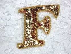 0274A  Letter ( F ) Sequin Beaded Applique 2.25""