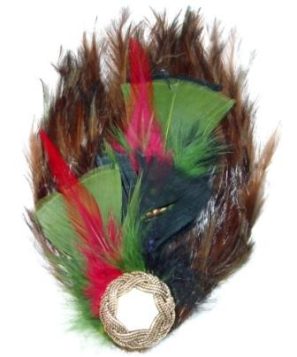 """FB12  Brown Olive Feather Brooch Applique 8"""""""