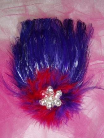 "FB29 Red & Purple Rhinestone Feather Applique Brooch  6"""