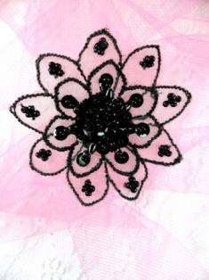 """FS2666 Black Venice Lace Floral Sequin Beaded Applique 2"""""""