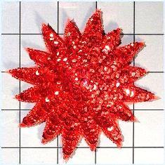 "FS3378 Red Starburst Beaded Sequin Applique 4"""