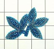 "Turquoise Beaded Leaf Applique 3.5"" (FS566A)"