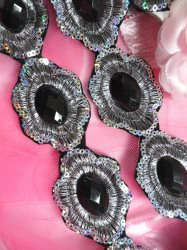 """Black Silver Metallic Embroidered Jewel Trim Iron On 1.5"""" GB143"""