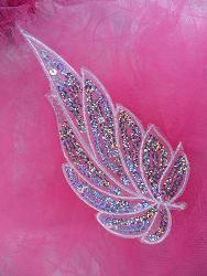 """GB163 White Embroidered Silver Holographic Seqiun Leaf Applique 6.25"""""""