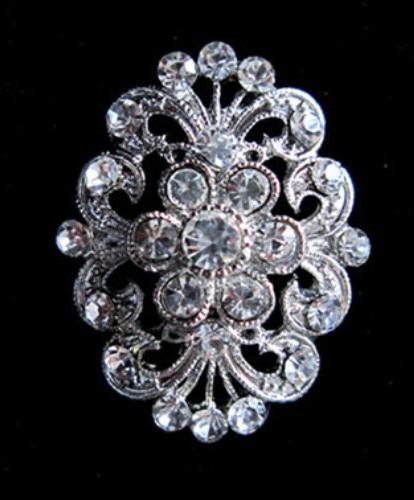 """GB246  Bridal Rhinestone Brooch Pin Vintage Silver Crystal Glass 1.5"""""""