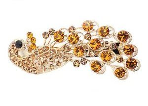 GB270 Peacock Hair Bow Gold Rhinestone Gold Metal French Clip