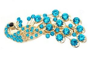 GB270 Peacock Hair Bow Turquoise Gold Accessory French Clip