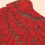 Red Wings Sequin Appliques Black Backing Mirror Pair Motifs Iron on Patch 13 inches GB339X