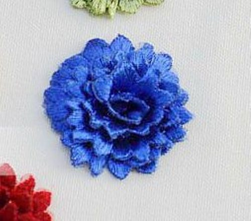 GB443 REDUCED Embroidered Applique Floral 3D Blue Patch 2.5""