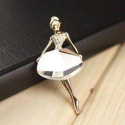 "GB67 Ballerina Brooch Crystal Rhinestone Pin Gold 1.75"""