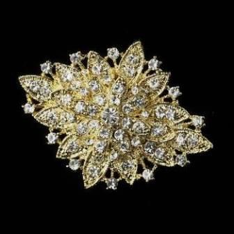 """GB80 Gold Crystal Bridal Rhinestone Brooch Pin Vintage Glass 2.5"""""""
