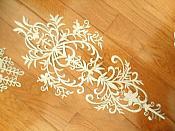 "Bodice Embroidered Applique Silver Metallic Designer Scroll Motif Iron on 23"" GB869"