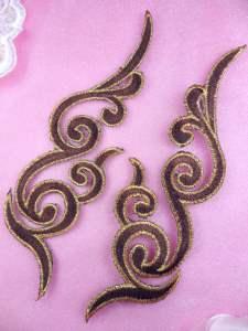 "GB89 MIRROR PAIR Brown Gold Metallic Iron On Designer Embroidered Applique 6.75"""