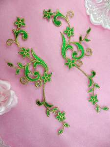 GB90 MIRROR PAIR Green Gold Metallic Flower Vine Iron On Designer Embroidered Applique 9""
