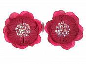 "Brooch L200 Set of ( 2 ) Burgundy Flower (Pin) Appliques 3.5"""
