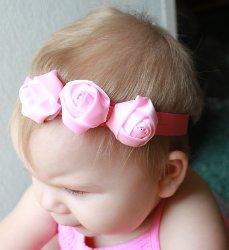 GB14 Triple Rose Silk Baby Headband Hair Bow