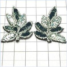 "FS476S Leaf Appliques Sequin Black Silver Combo Mirror Pair Beaded Motif 2"""