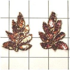 "FS476S Leaf Appliques Sequin Bronze Mirror Pair Beaded Motif 2"""