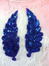 "FS760  Royal Blue Leaf Mirror Pair Beaded Sequin Appliques 4"""