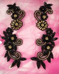 0183  Black Gold Mirror Pair Sequin Beaded Appliques